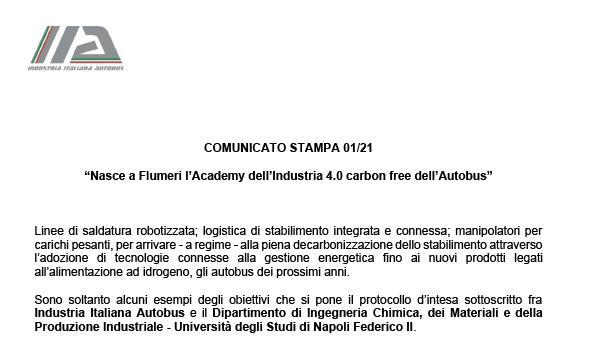 Nasce a Flumeri l'Academy dell'Industria 4.0 carbon free dell'Autobus